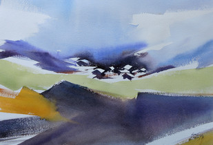 Abstract landscape by Sunil Linus De, Abstract Painting, Watercolor on Paper, Cyan color