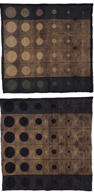 Aspect (Diptych) by Neha Puri Dhir, Geometrical Textile, Resist Dyeing on Silk, Brown color