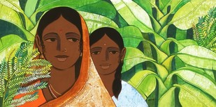 Mother and Daughter IV by Nagesh Ghodke, Expressionism Painting, Acrylic on Canvas, Green color