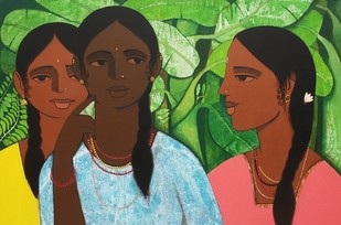 Sakhi (friends) by Nagesh Ghodke, Expressionism Painting, Acrylic on Canvas, Green color
