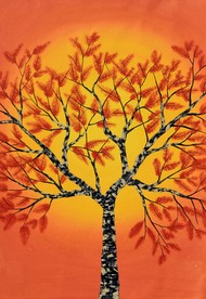 Sambharv by Sumit Mehndiratta, Decorative Painting, Acrylic on Canvas, Orange color