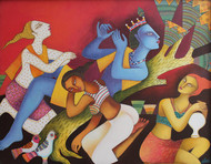 krishna and gopi by Nitai Das, Expressionism Painting, Acrylic on Canvas, Brown color