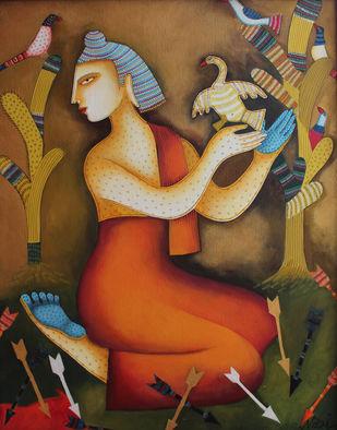 shidhart(goutam buddha) by Nitai Das, Expressionism Painting, Acrylic on Canvas, Brown color