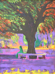 Love In Lal Bagh Digital Print by Usha Shantharam,Impressionism