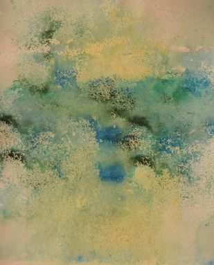 Speckled Scapes (No.12) by Mahesh Sharma, Abstract Painting, Acrylic on Paper, Beige color