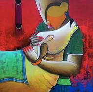 Rhythmic conversation 2 by anupam pal, Expressionism Painting, Acrylic on Canvas, Brown color