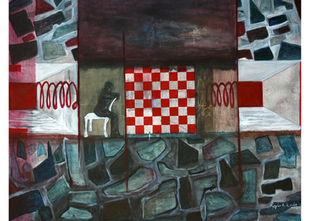 Chess by Raghu Kondur, Expressionism Painting, Acrylic on Canvas, Gray color