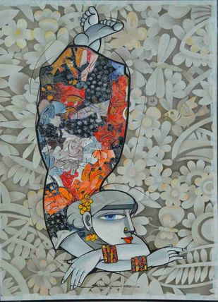 Whimsical by Dhiren Sasmal, Decorative Painting, Acrylic & Ink on Canvas, Gray color