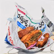 Kumudhini baskaran mirchi 36x36 acrylic on canvas 2016 75000