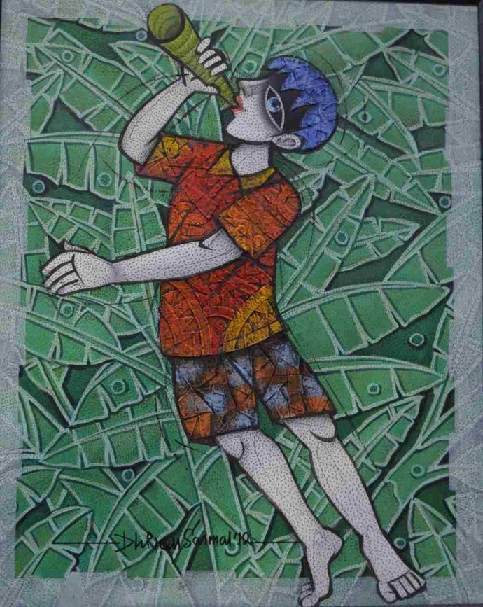 Boy Blowing Horn by Dhiren Sasmal, Expressionism Painting, Acrylic & Ink on Canvas, Green color