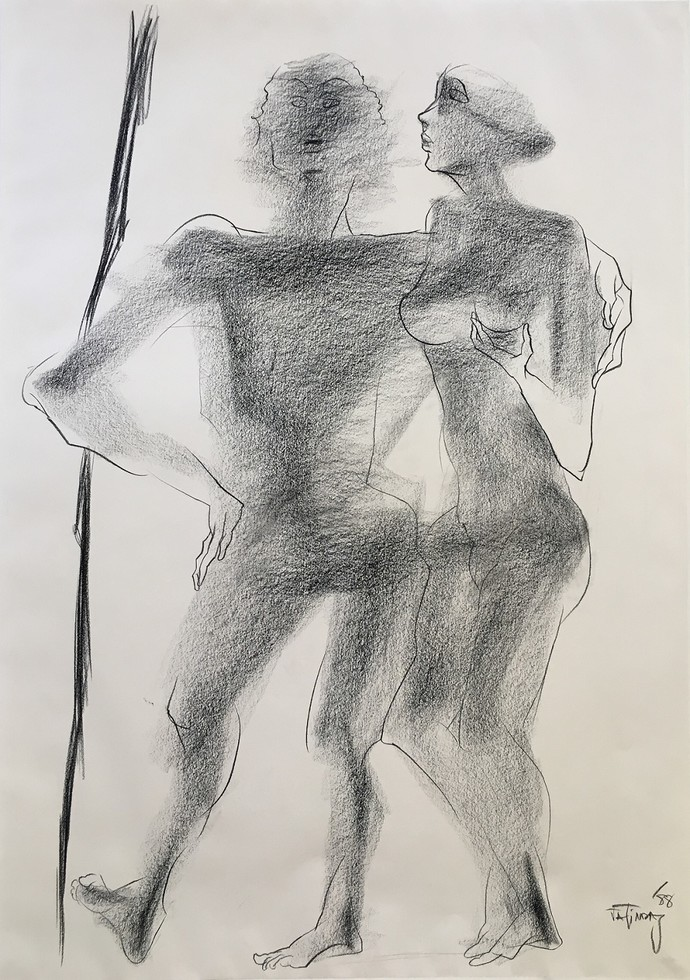 Untitled by Jatin Das, Expressionism Painting, Conte on Paper, Gray color
