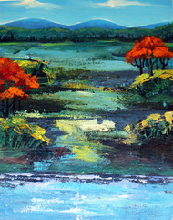 Landscape with red trees by Bolleddu Sridhar, Impressionism Painting, Acrylic on Canvas, Green color