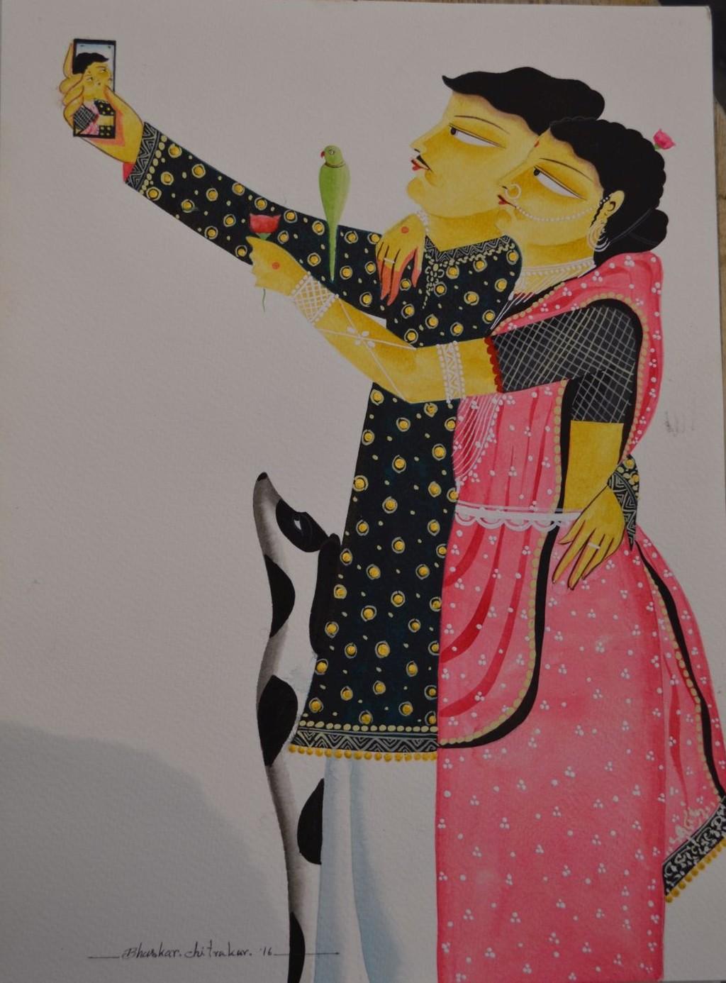 Babu-Bibi taking a 'selfie' by Bhaskar Chitrakar, Folk Painting, Watercolor on Paper, Brown color