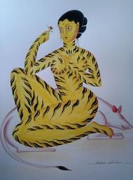 Tiger-Woman by Bhaskar Chitrakar, Folk Painting, Watercolor on Paper, Green color