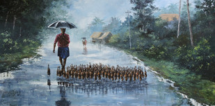 Rainy Day by Sunil Linus De, Impressionism Painting, Acrylic on Canvas, Green color
