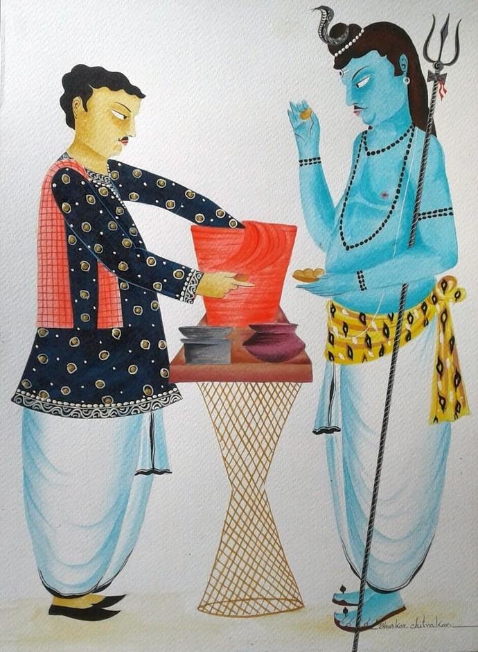 Shiva eating 'phuchkas' in Kolkata by Bhaskar Chitrakar, Conceptual Painting, Natural colours on paper, Brown color