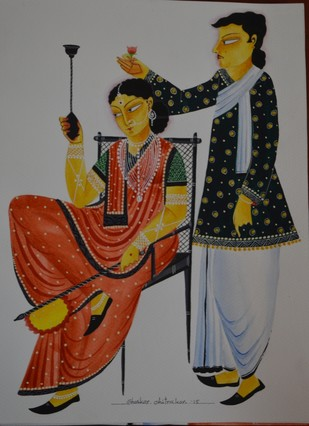 Babu romancing Bibi by Bhaskar Chitrakar, Folk Painting, Tempera on Paper, Gray color