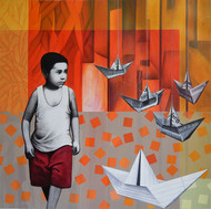 NOSTALGIA by Pradip Unni, Fantasy Painting, Acrylic on Canvas, Brown color