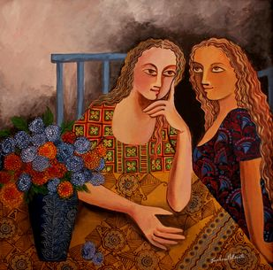 Gup Shup by Jayshree P Malimath, Traditional Painting, Acrylic on Canvas, Brown color