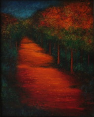 pathway by P. Saraswati, Impressionism Painting, Acrylic on Canvas, Brown color