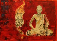 Dhyana I ( Tiger and the meditating monk) by Pratap SJB Rana, Expressionism Painting, Acrylic on Canvas, Red color