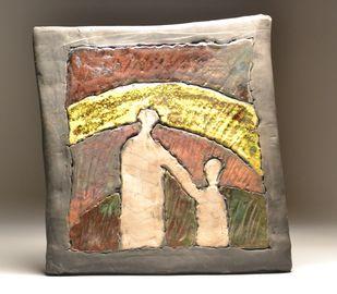 Aa Chal ki Tujhe...- Raku Fired by Meenakshi Garodia, Art Deco Sculpture   3D, Ceramic, Brown color