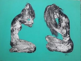025 (The Complete Being) by Jayshree Goradia, Expressionism Painting, Mixed Media on Canvas, Cyan color