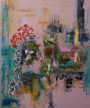 blossom by Sheetal Singh, Abstract Painting, Acrylic on Canvas, Brown color
