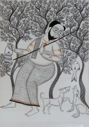Untitled by Unknown Artist, Traditional Painting, Watercolor on Paper, Gray color