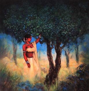 Dark Lady [II] Digital Print by Avik Chakraborty,Impressionism
