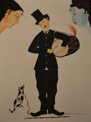 Charlie Chaplin in Kalighat by Bhaskar Chitrakar, Traditional Painting, Tempera on Paper, Brown color