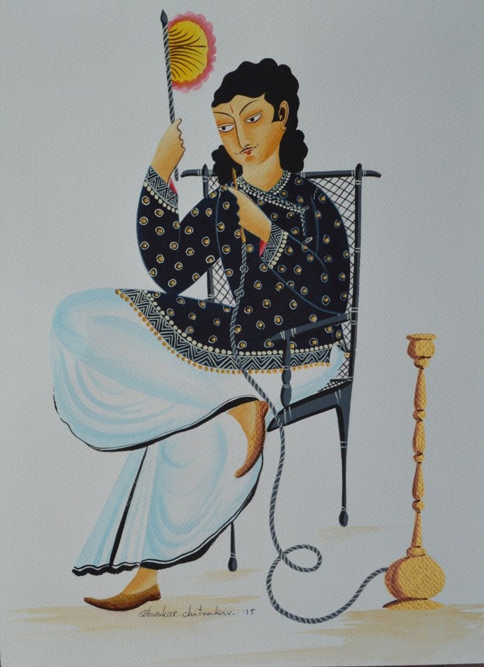 Babu with hookah by Bhaskar Chitrakar, Traditional Painting, Tempera on Paper, Gray color