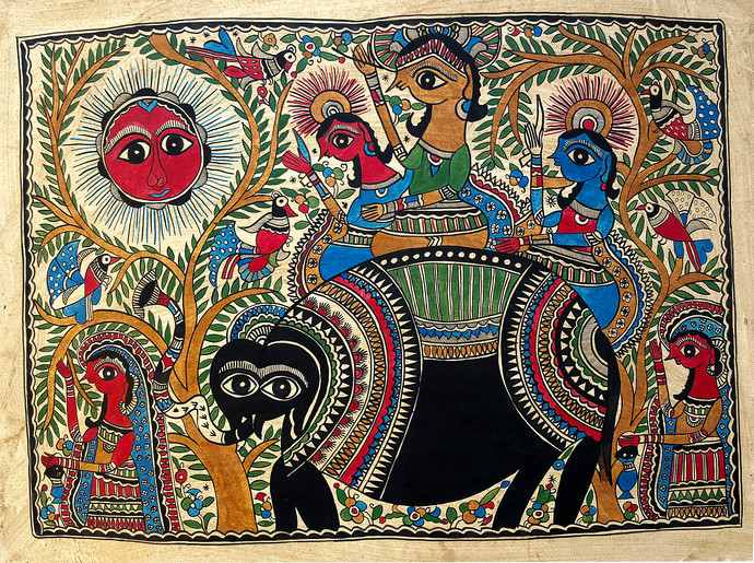 King Salhesa With Motiraam, Budheshwar & Malins by Chano Devi, Traditional Painting, Water Based Medium on Paper, Brown color