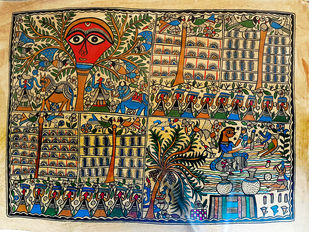 A Daily Life by Chano Devi, Traditional Painting, Water Based Medium on Paper, Brown color