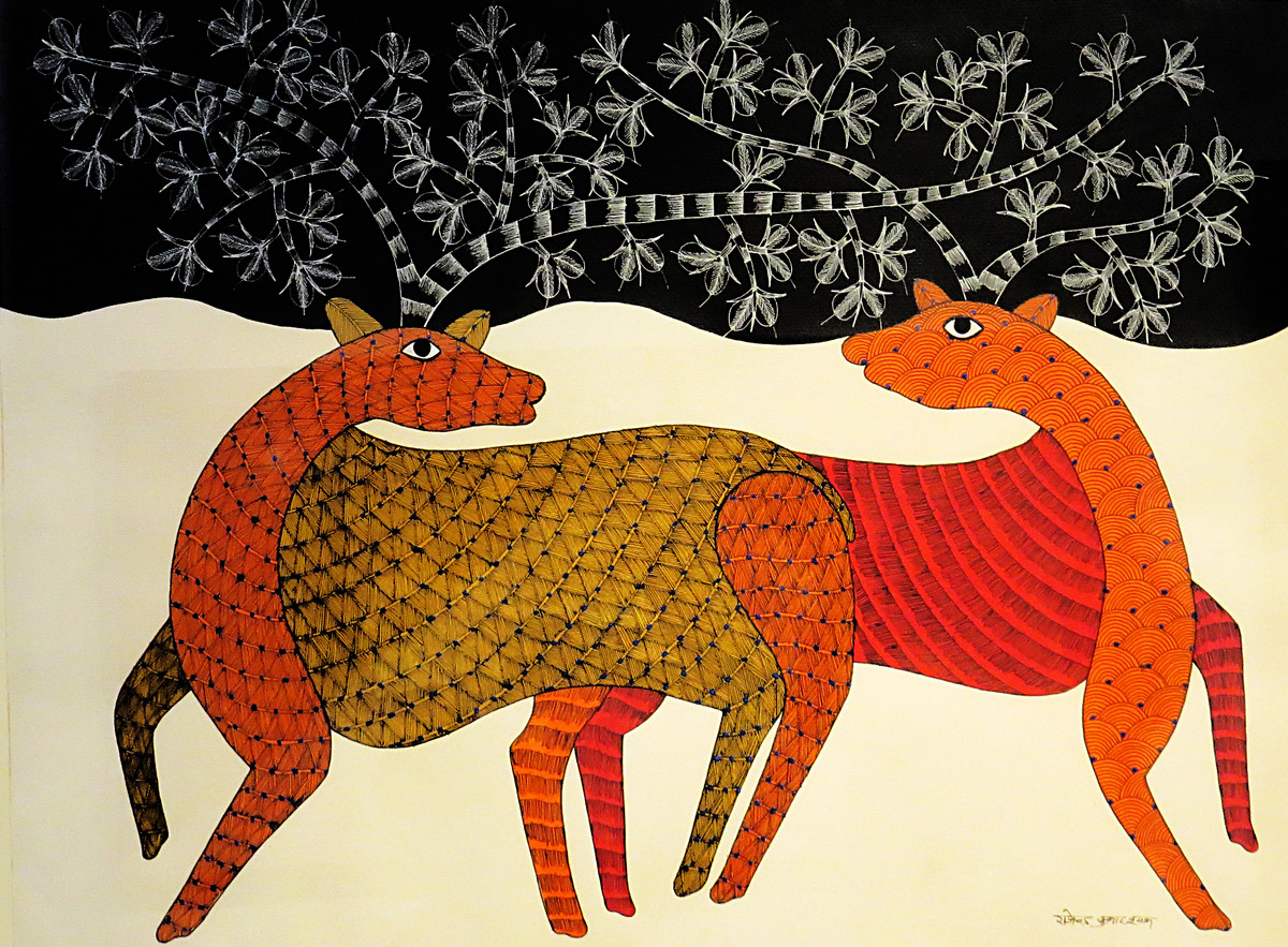 Two Deer by Rajendra Kumar Shyam , Traditional Painting, Acrylic on Paper, Brown color
