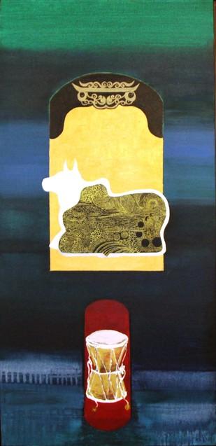 The Temple Guardian - Mahashaktimaya by Pratap SJB Rana, Expressionism Painting, Mixed Media on Canvas, Green color