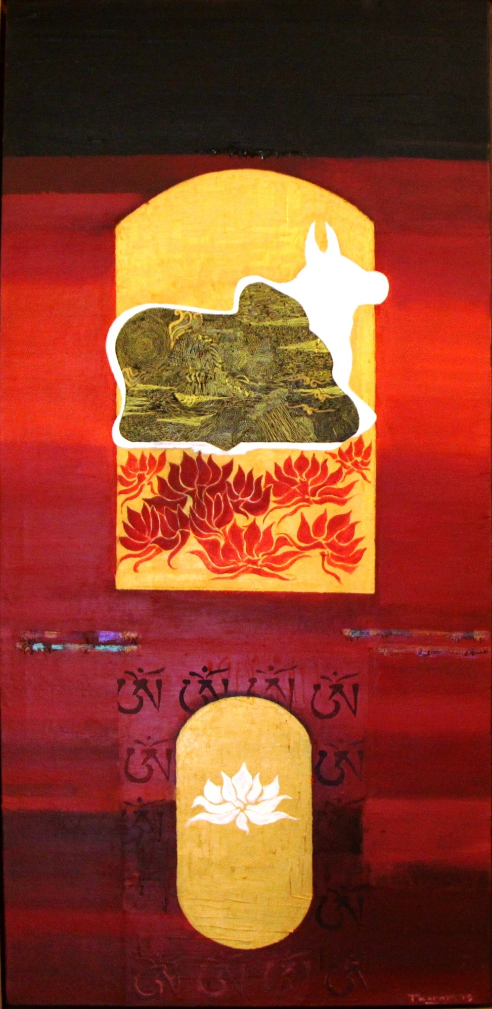 The Temple Guardian - Akshayaguna by Pratap SJB Rana, Expressionism Painting, Mixed Media on Canvas, Brown color