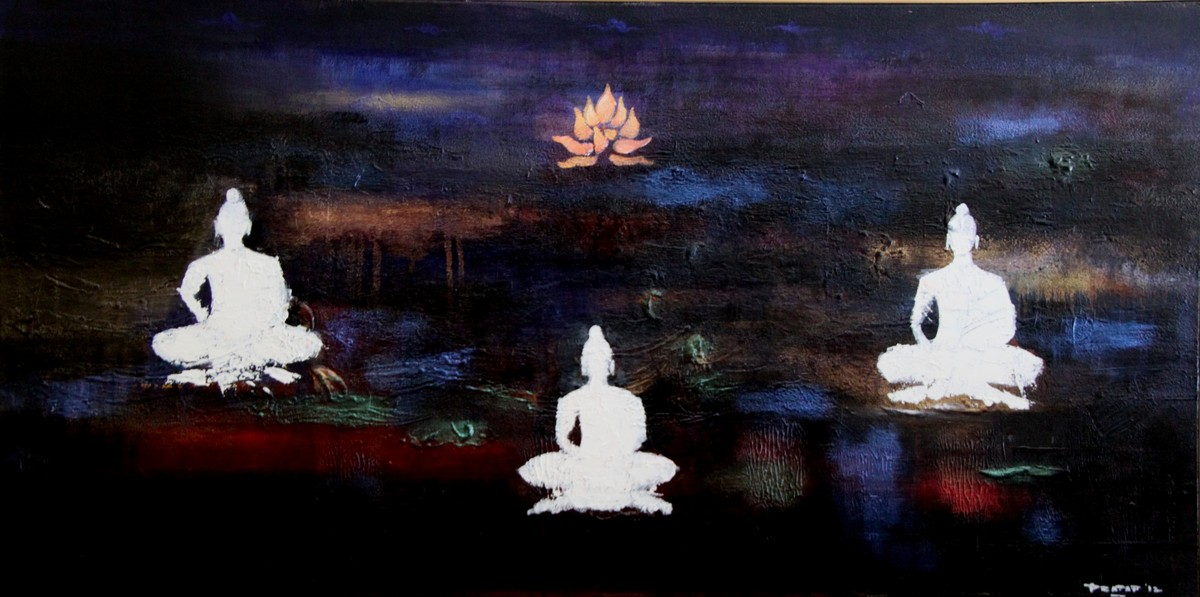 Divine Resonance - The Garden of Tranquillity || by Pratap SJB Rana, Expressionism Painting, Acrylic on Canvas, Blue color