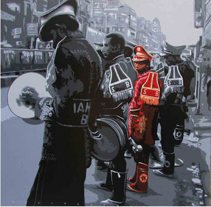 Band 1 by Sujit Karmakar, Expressionism Painting, Acrylic on Canvas, Gray color