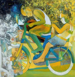 Joy on Wheels by Brajmohan Arya, Fantasy Painting, Acrylic on Canvas, Green color