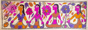 Follow Me Now by Yamuna Devi, Traditional Painting, Water Based Medium on Paper, Brown color