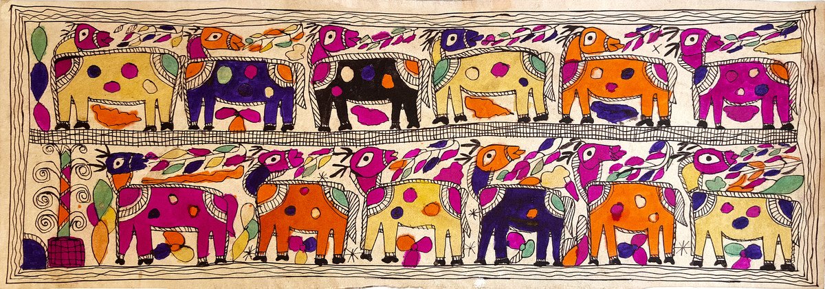 Camels In The Hot Sun by Yamuna Devi, Traditional Painting, Water Based Medium on Paper, Brown color