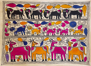 Deer Friends by Yamuna Devi, Traditional Painting, Water Based Medium on Paper, Brown color
