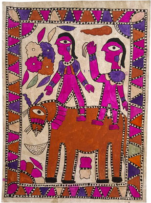 Royal Riders by Yamuna Devi, Traditional Painting, Water Based Medium on Paper, Brown color