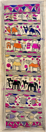 Assembly Of Animals by Yamuna Devi, Traditional Painting, Water Based Medium on Paper, Brown color