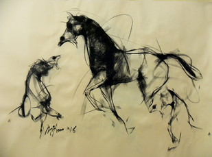 Motion IV by Mithun Dutta, Impressionism Drawing, Conte on Paper, Beige color