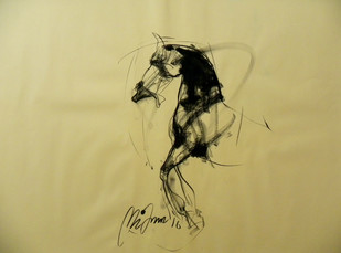 Motion VIII by Mithun Dutta, Impressionism Drawing, Conte on Paper, Beige color
