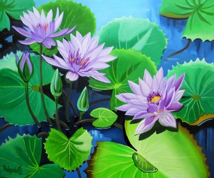 Waterlilies Series 3 by Vishwajyoti Mohrhoff, Impressionism Painting, Acrylic on Canvas, Green color