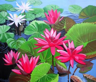Waterlilies Series 4 by Vishwajyoti Mohrhoff, Impressionism Painting, Acrylic on Canvas, Green color