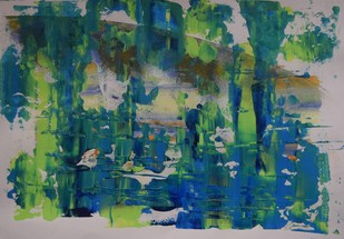 Soul Searching No. 10 by Mahesh Sharma, Abstract Painting, Acrylic on Paper, Green color